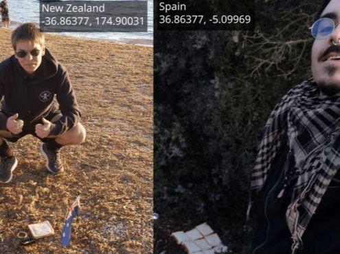 """新西兰和西班牙两名男子把地球做成了一个""""三明治"""""""