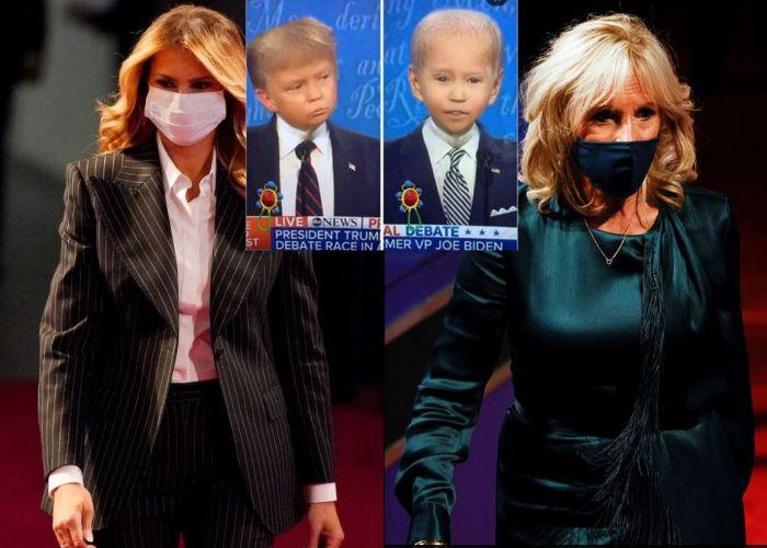 """美国大选首场辩论变""""幼儿园小孩吵架""""现场!两位夫人暗暗较劲?"""